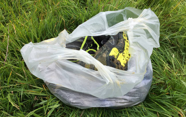 Running gear plastic bag