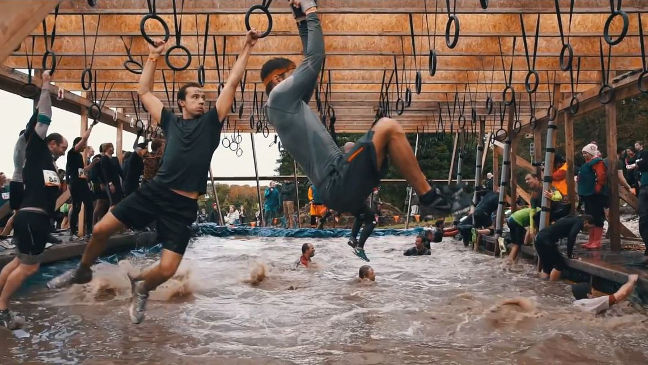 At Tough Mudder's Hangin' Tough you have to swing from ring to ring
